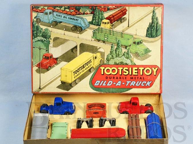 Brinquedo antigo Conjunto Completo Bild-A-Truck Set com dois Cavalos Mecânicos e cinco Carretas Década de 1950