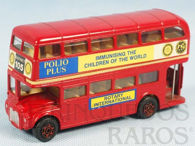Brinquedo antigo Routemaster London Bus Rotary Polio Plus Immunising the Children of the World Década de 1970