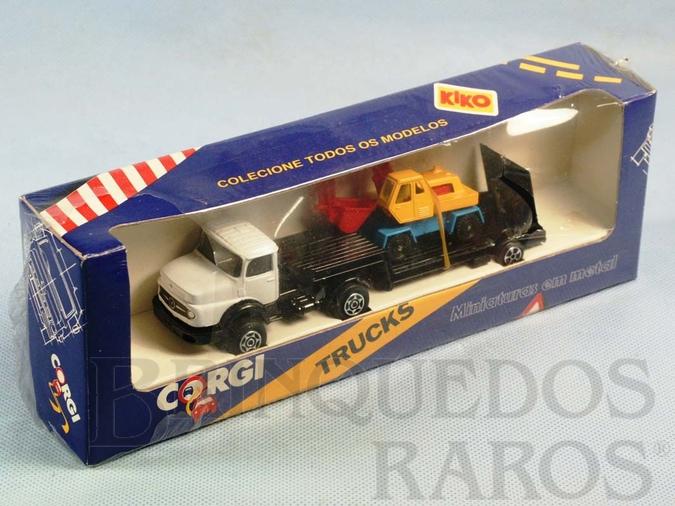 Brinquedo antigo Mercedes Benz Loader and Excavator embalagem lacrada Brazilian Corgi Jr Kiko Década de 1980
