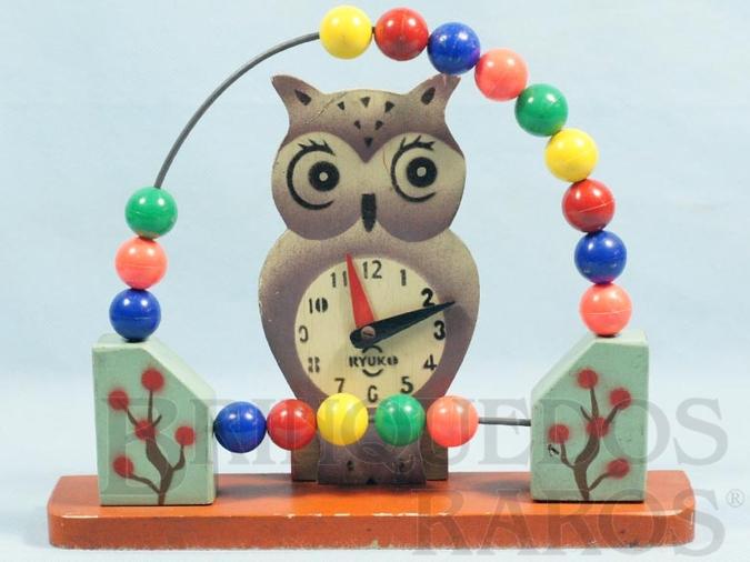 Brinquedo antigo Ábaco infantil Coruja com Relógio 20,00 cm de altura Década de 1950