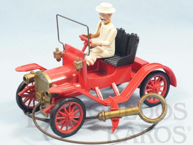 Brinquedo antigo Calhambeque Maxwell 1913 vermelho com motorista branco 19,00 cm de comprimento Década de 1950
