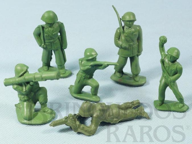 Brinquedo antigo Conjunto Completo de seis soldados 6,00 cm de altura Década de 1980