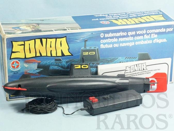 Brinquedo antigo Submarino Sonar com 44,00 cm de comprimento Década de 1980