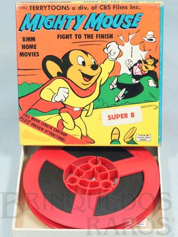 Brinquedo antigo Desenho Animado Super 8 Super Mouse Mighty Mouse  Fight to the Finish preto e branco mudo Década de 1960