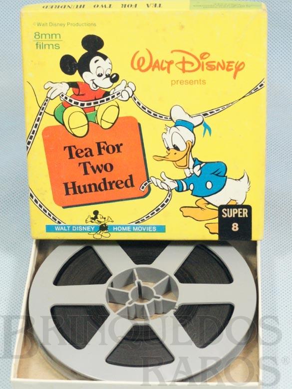 Brinquedo antigo Desenho Animado Super 8 Mickey e Donald Tea For two Hundred preto e branco mudo Walt Disney Década de 1960