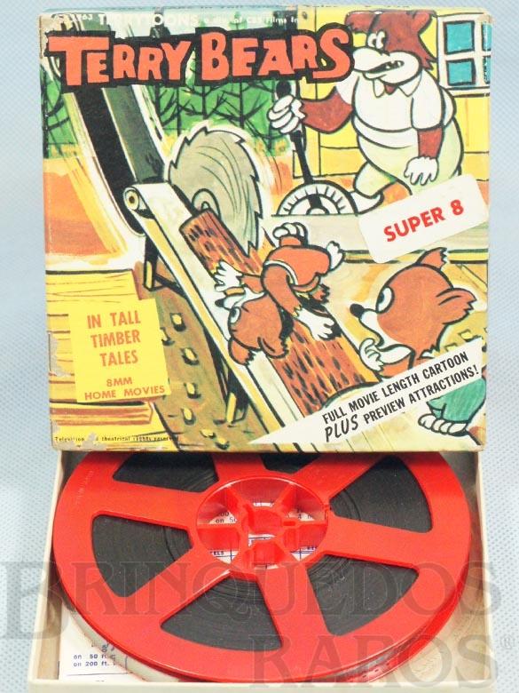 Brinquedo antigo Desenho Animado Super 8 Terry Bears Tall Timber Tales preto e branco mudo Década de 1960