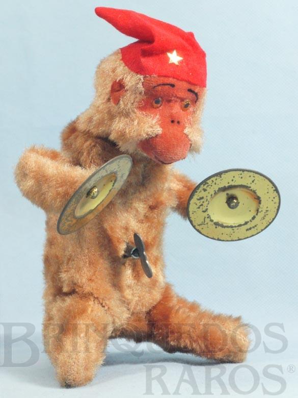 Brinquedo antigo Macaco tocando Címbalos com 19,00 cm de altura Década de 1960