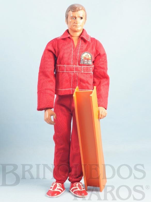 Brinquedo antigo Boneco Ciborg Homem de Seis Milhões de Dólares The Six Million Dollar Man completo com Viga e 3 itens Ano 1973