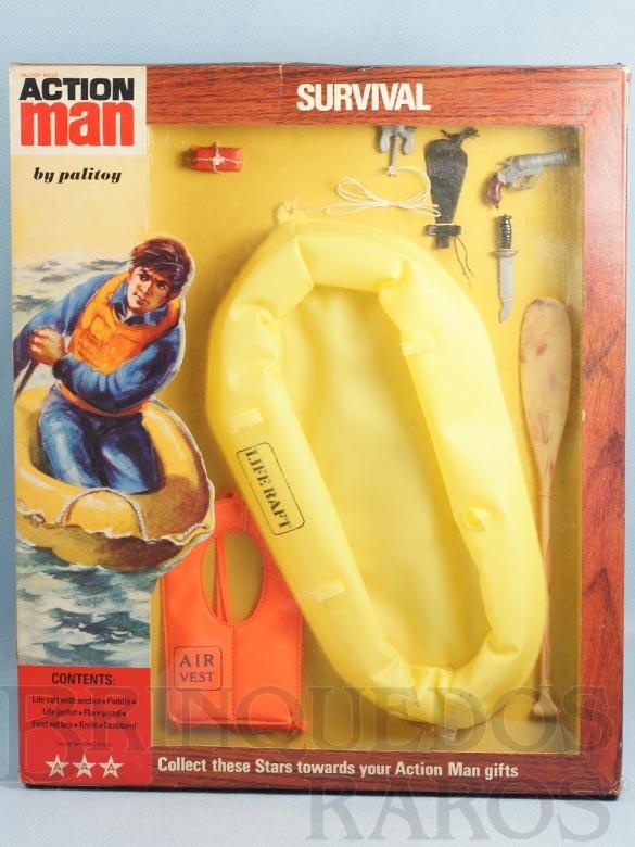 Brinquedo antigo Conjunto Action Man Survival Set com Bote Inflavel e mais 7 itens Sobrevivência Falcon Ano 1965