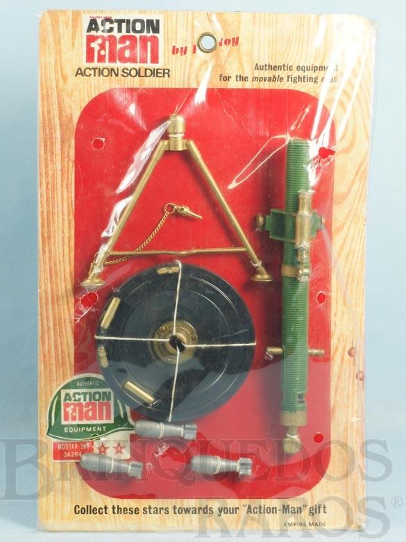 Brinquedo antigo Conjunto Action Man Mortar Set com 4 itens Morteiro Falcon Cartela Lacrada Ano 1967