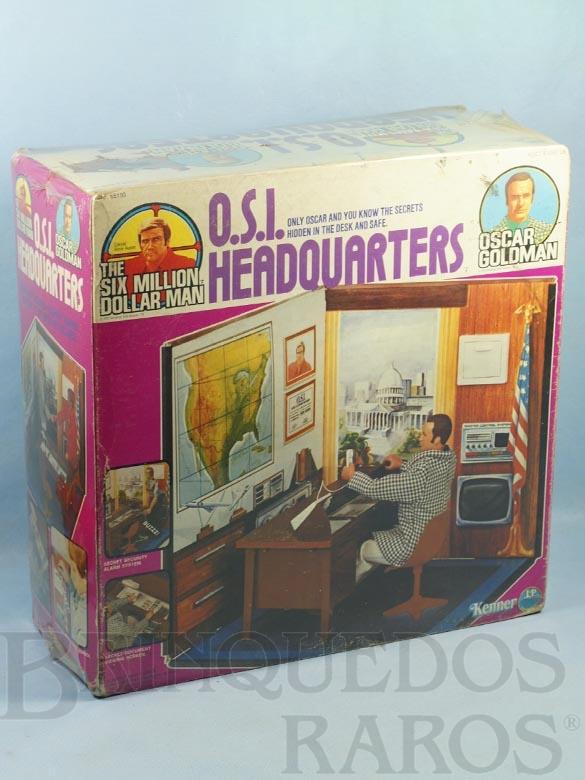 Brinquedo antigo Ciborg Homem de Seis Milhões de Dólares Oscar Goldman O.S.I. Headquarters Caixa lacrada Ano 1975