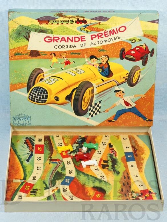 Brinquedo antigo Jogo Grande Prêmio Corrida de Automóveis completo com 4 carrinhos de plástico Década de 1960