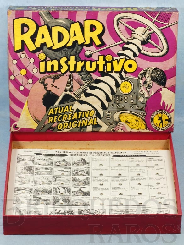 Brinquedo antigo Jogo de Perguntas e Respostas Radar Instrutivo  caixa assinada Kraus Faltam a Caixa de Pilhas e os terminais Década de 1970