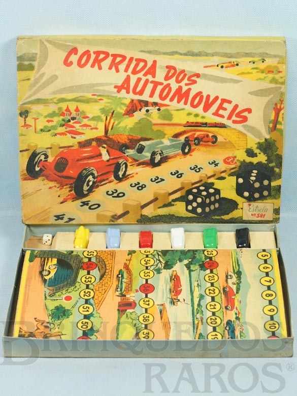 Brinquedo antigo Jogo Corrida dos Automóveis completo com 6 carrinhos plásticos Ano 1948