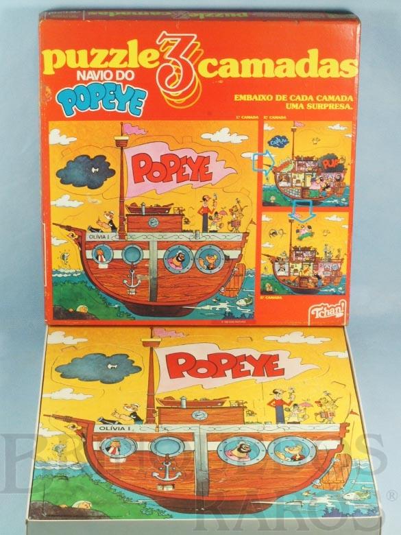 Brinquedo antigo Quebra Cabeça com três camadas Navio do Popeye Década de 1980