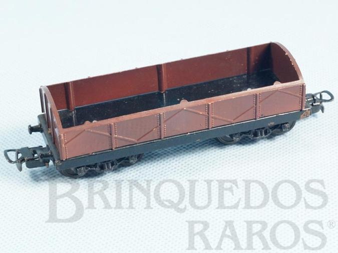 Brinquedo antigo Vagão Gôndola Marrom com dois trucks Corrente Alternada Atma Mirim Década de 1950