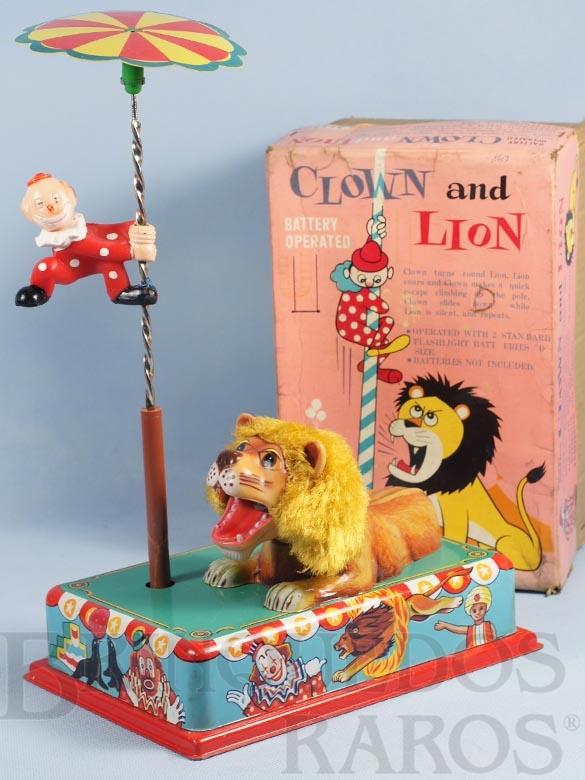 Brinquedo antigo Palhaço e Leão Clow and Lion Ano 1967