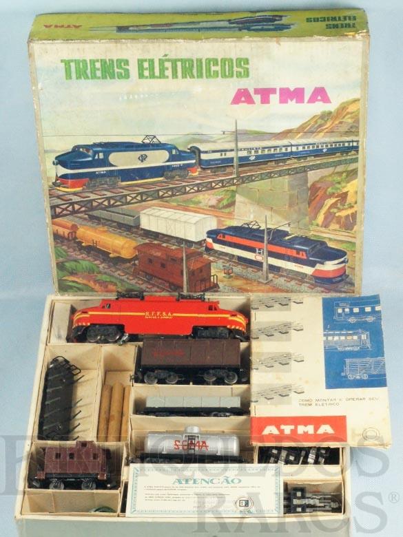 Brinquedo antigo Conjunto de Locomotiva e cinco Vagões de Carga  R.F.F.S.A. Santos a Jundiaí Corrente Alternada Atma Mirim completo Excelente estado Ano 1964