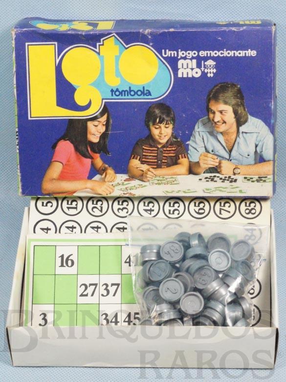 Brinquedo antigo Jogo Loto Bingo Tombola com 12 Cartelas Pedras de Plástico Década de 1970