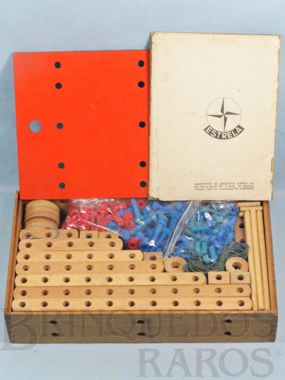 Brinquedo antigo Conjunto de Montar Monte-Bras caixa número 5 completa com 438 peças e Manual de Instruções Década de 1960