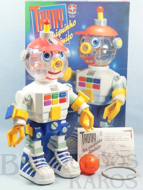 Brinquedo antigo Robot Trony Seu Amiguinho Eletrônico perfeito estado completo com Bola Argola e folheto de instruções 42,00 Cm de altura Ano 1994