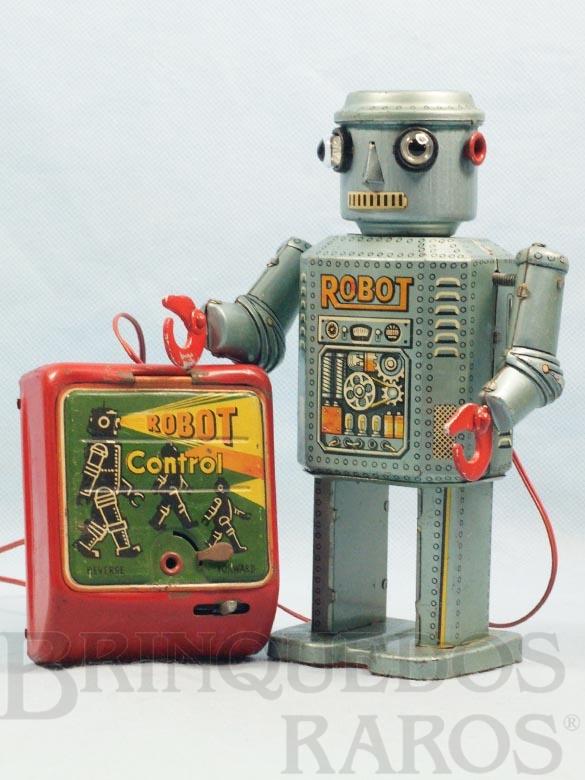 Brinquedo antigo Robot Control completo com Caixa de pilhas 19,00 cm de altura Década de 1950