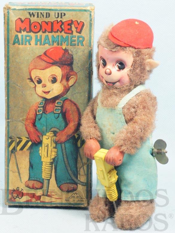 Brinquedo antigo Macaco com Britadeira Monkey Air Hummer 19,00 Cm de altura Década de 1960