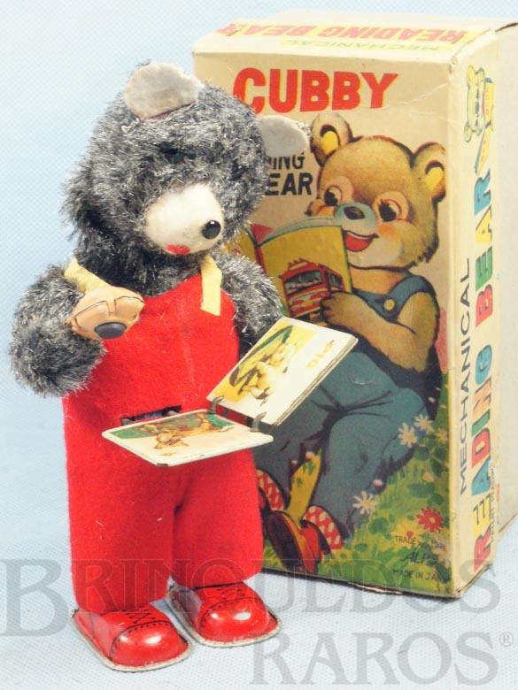Brinquedo antigo Urso lendo Livro Cubby the Reading Bear 19 Cm de altura Década de 1960