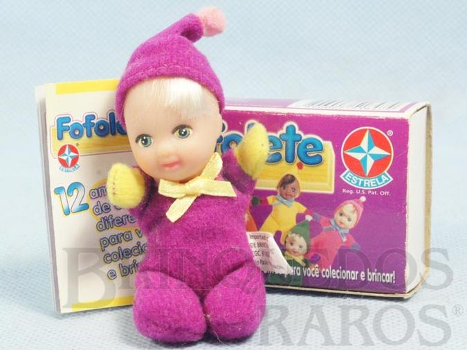 Brinquedo antigo Fofolete Violeta com 8,00 Cm de altura Olhos pintados Ano 1998