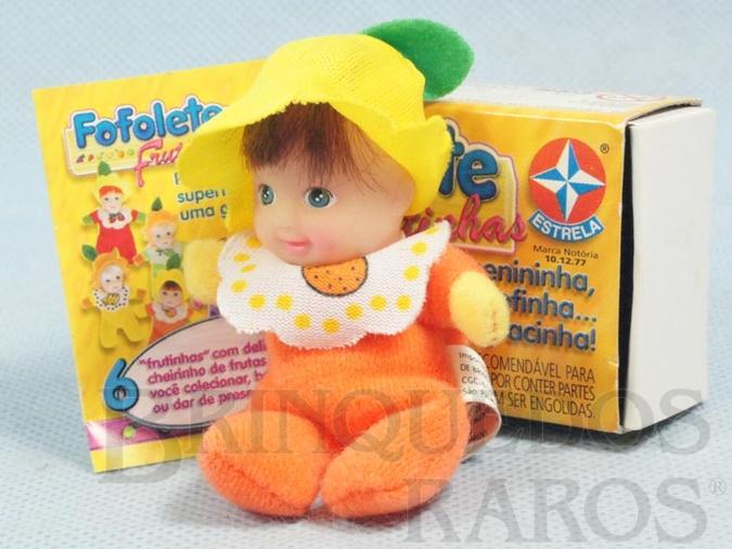Brinquedo antigo Fofolete Laranja Série Frutinhas 8,00 Cm de altura Olhos pintados Ano 2000