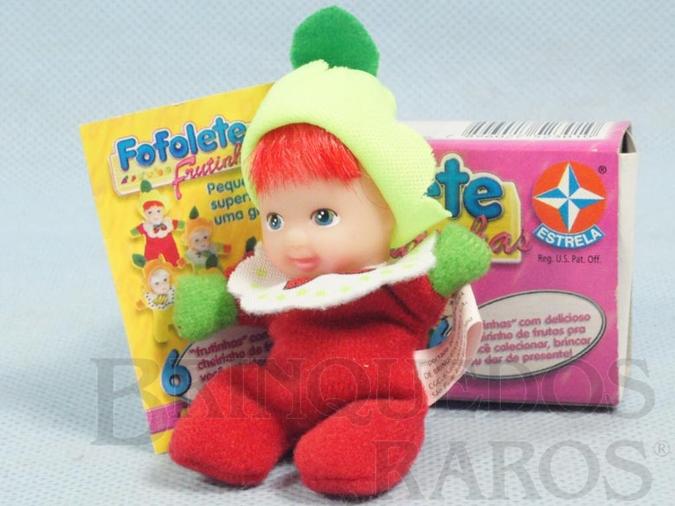 Brinquedo antigo Fofolete Morango Série Frutinhas 8,00 Cm de altura Olhos pintados Ano 2000