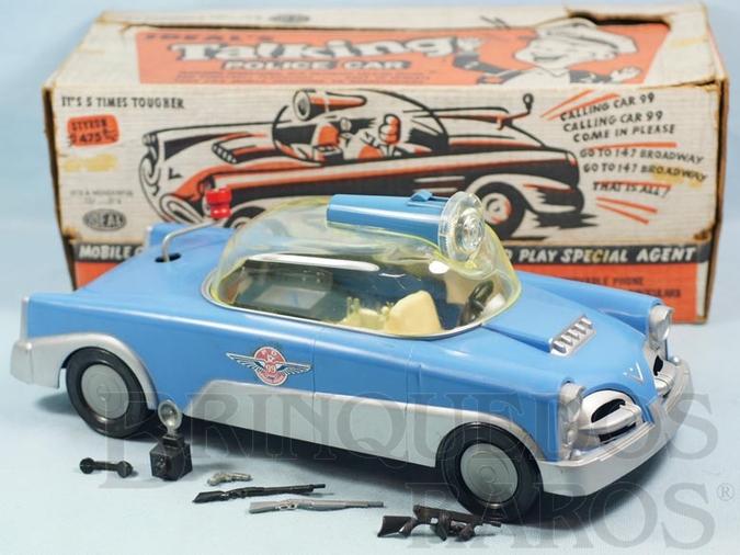 Brinquedo antigo Carro de Polícia Talking Police Car Mobile Crime Laboratory completo com acessórios e Lanterna 35,00 cm de comprimento Década de 1960