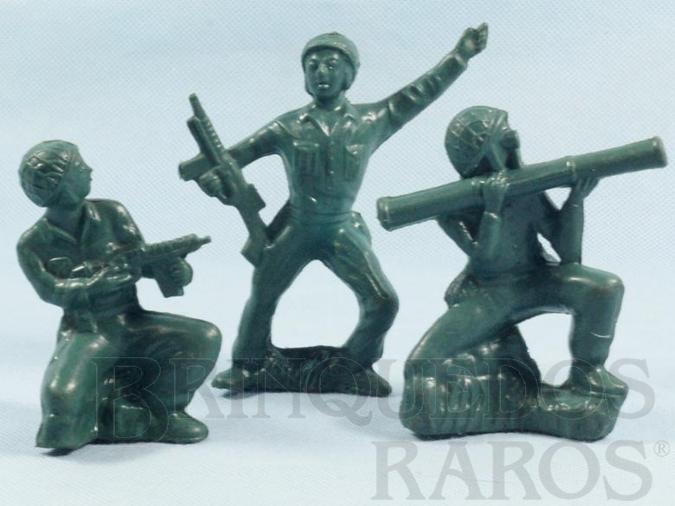 Brinquedo antigo Conjunto de tres Soldados Americanos com 12,00 cm de altura Década de 1970