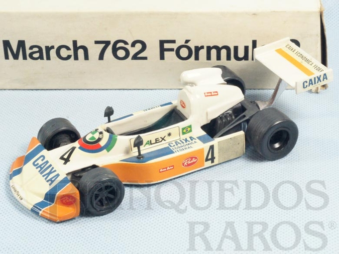 Brinquedo antigo March 762 Fórmula 2 com 17,00 de comprimento Piloto Alex Dias Ribeiro Década de 1980