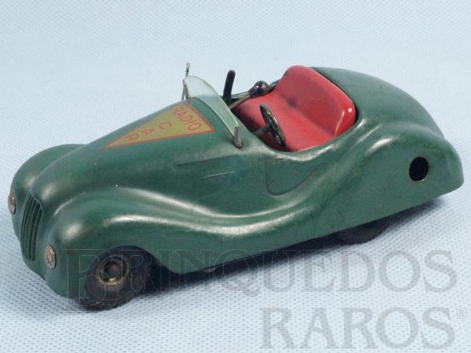 Brinquedo antigo Carro Radio Car com 14,00 cm de comprimento Toca música Dois motores Década de 1950