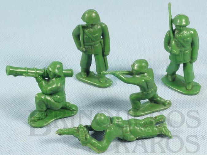 Brinquedo antigo Conjunto de cinco soldados 6,00 cm de altura Década de 1970