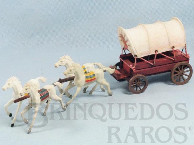 Brinquedo antigo Carroça Casablanca Coberta com quatro cavalos índios Cavalos numerados 10 Rodas numeradas 174 e 175  Primeira Série Ano 1965