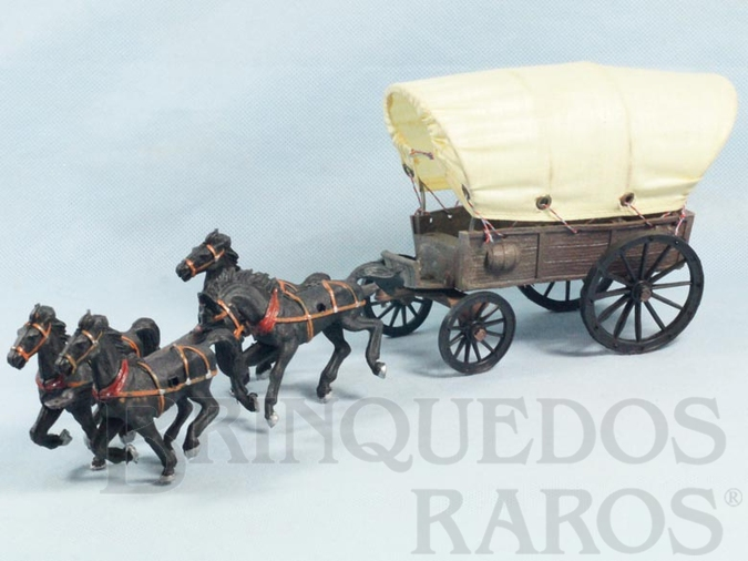 Brinquedo antigo Carroça Gulliver Coberta com quatro cavalos Ano 1975
