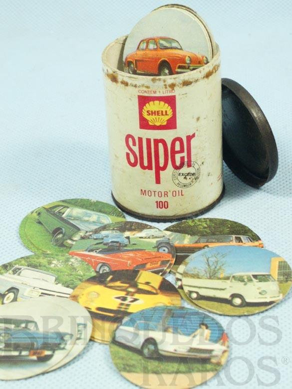 Brinquedo antigo Jogo da Mem�ria Lata de �leo Shell Super com 44 pares de discos com imagens de Carros Brasileiros da �poca 6,00 cm de altura D�cada de 1970