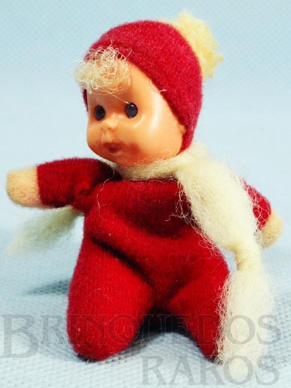 Brinquedo antigo Fofolete com olhos de plástico 6,00 Cm de altura Vermelha Década de 1970