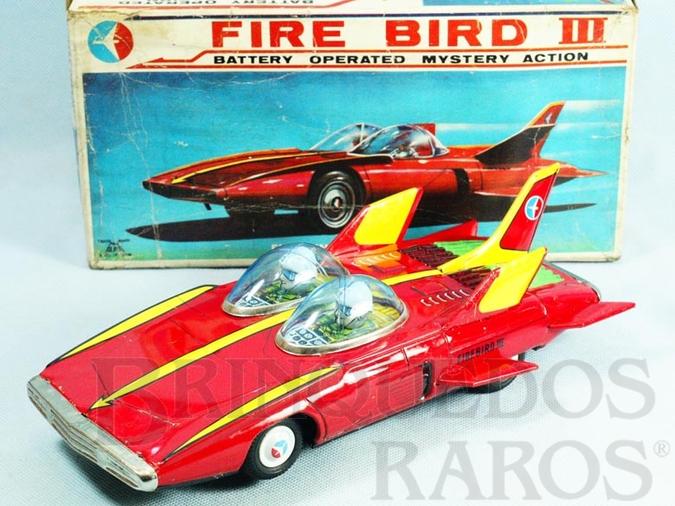 Brinquedo antigo Carro Conceito 1959 General Motors Firebird III com 28,00 cm de comprimento Sistema Bate e Volta Versão Vermelha Década de 1960