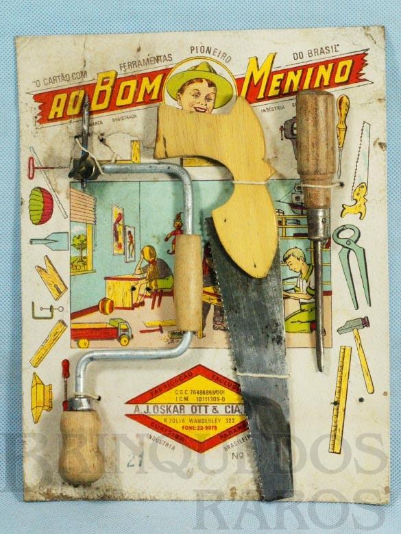 Brinquedo antigo Cartão de Ferramentas Ao Bom Menino com Tupia Serrote e Chave de Fenda Década de 1950
