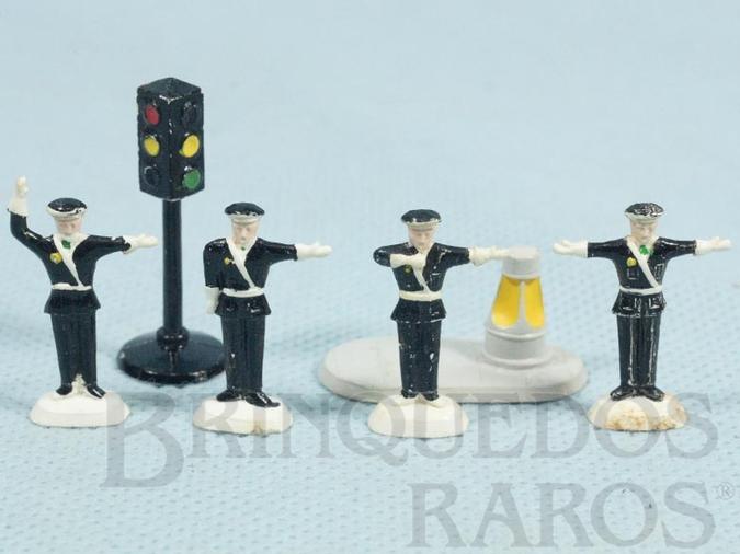 Brinquedo antigo Conjunto Lego Systen Traffic Police Set completo com seis itens Ano 1959