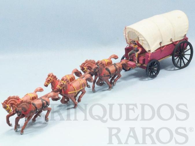 Brinquedo antigo Carroça com 6 cavalos e Cocheiro Cowboy Carroceiro numerado 126 pintura fosca Gulliver primeira série Década de 1960
