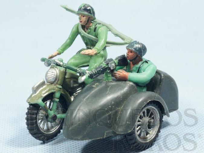Brinquedo antigo Motocicleta com Sidecar e dois Soldados completa Década de 1970