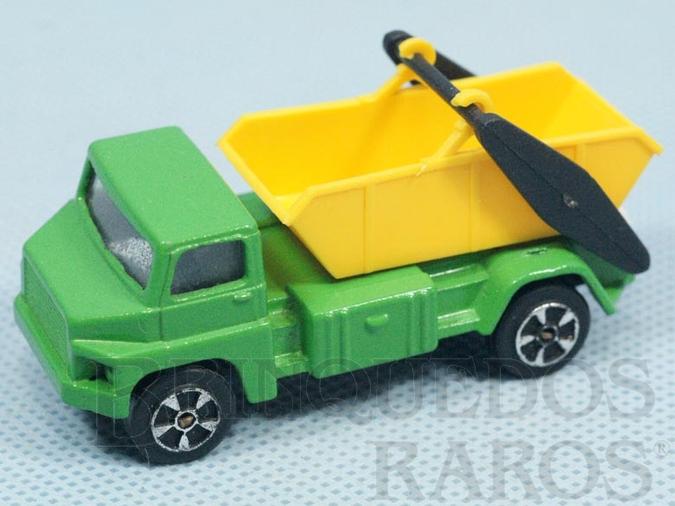 Brinquedo antigo Tipping Lorry verde com caçamba amarela Brazilian Corgi Jr Kiko Década de 1980