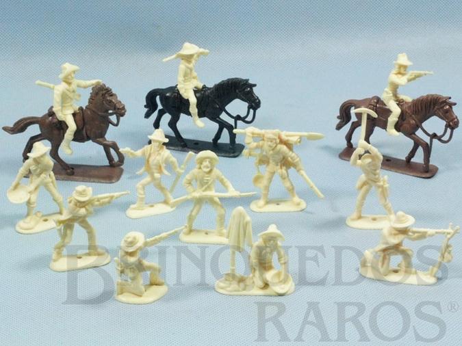 Brinquedo antigo Conjunto completo de 12 Cowboys Mineradores e 3 cavalos Atlantic Série Far-West Story Ano 1987