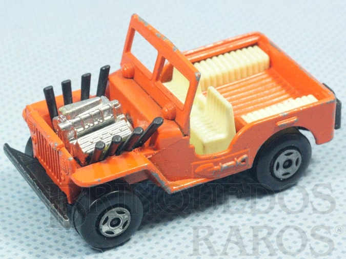 Brinquedo antigo Jeep Willys Hot Rod Superfast Brazilian Matchbox Inbrima laranja