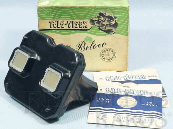 Brinquedo antigo Visor Tele-Visex Alto-Relevo Patente 213133 Brazilian View Master com 3 discos Década de 1950