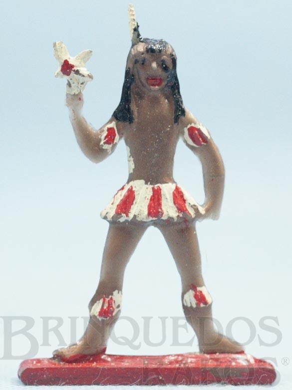 Brinquedo antigo Figura de Criança Índia Brasileira com Pássaro 8,00 cm de altura Década de 1960